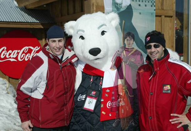 Pete Canalichio with Coke at the Olympics in Salt Lake City