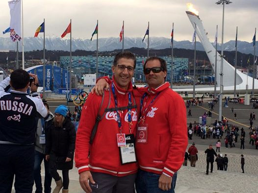 Pete Canalichio with Coke at the Olympics in Sochi